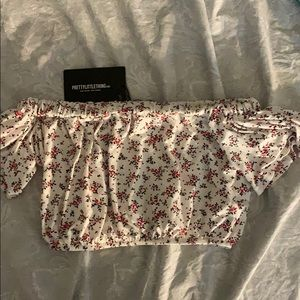 Tops - pretty little thing off shoulder crop top